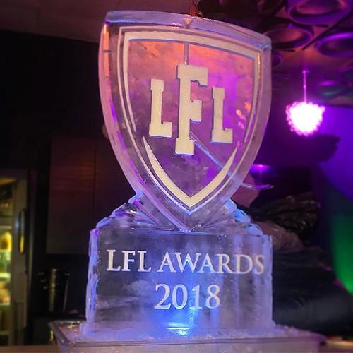 @legendsfootballleaguelfl ready to kickoff their awards celebration tonight @moonfireloungeatx #fullspectrumice #logo #luge #thinkoutsidetheblocks #brrriliant - Full Spectrum Ice Sculpture