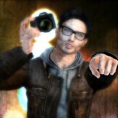 Freeze-Frame (Loegan Magic) Tags: secondlife portrait headshot camera hand grunge glasses lights freezeframe jgeilisband lyrics leatherjacket hoodie pointing