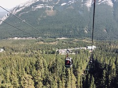 Riding the Banff Gondola up Sulphur Mountain (lhboudreau) Tags: banffgondola gondola banff canada alberta ride sulphurmountain bowvalley mountain mountains canadianrockies rockymountains rockies valley forest tree trees pinetree pinetrees pine pines mountainside climb