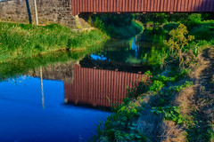 Rural Reflections (tquist24) Tags: conestogariver hdr lancastercounty nikon nikond5300 pennsylvania weaversmillcoveredbridge bridge coveredbridge creek geotagged grass historic longexposure morning reflection reflections river rural shadow shadows sky tree trees water unitedstates