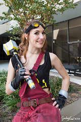20180901-082311-5D3B0263 (zjernst) Tags: 2018 atlanta blizzard brigitte convention georgia overwatch videogame brunette cosplay costume dragoncon gloves goggles hammer hero mace outside overalls tanktop weapon