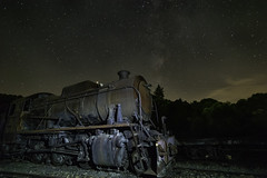 Old locomotive with  and milky way above it (JuanraRBB) Tags: ancient antique astro astronomy astrophotography atmosphere background blue cosmic cosmos dark exposure forest galaxy landscape light locomotive longexposure milky milkyway milkywaygalaxy nature nebula nebulae night nightlandscape old outerspace pebble railwayengine red science shine silhouette sky space sparkle star starlight starry stars stellar stones summer train traintracks universe way