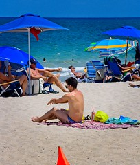 Caution on the beach (LarryJay99 ) Tags: 2018 beach streets people ftlauderdale ocean atlanticocean orange flag shirtless speedo back shoulders glasses sandy tanning man men guy guys dude male studly manly dudes handsome seated sunglasses hotdudes saggers shirtlessguys legs hairy hairylegs tattoos tatts