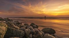Scarlet Sunset at Suvali (Neha & Chittaranjan Desai) Tags: sunset sea india travel seascapes sky clouds color nature landscapes surat rocks tide