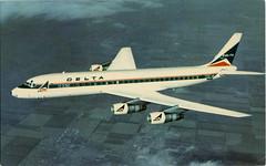Delta's Modern Douglas DC-8 FANJET (SwellMap) Tags: postcard chrome vintage transportation train plane boat roadside