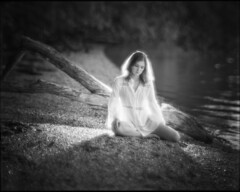 Neo-Pictorialism (lawsonpix) Tags: pictorialism beach beautiful girl dress sitting water thoughtful flash haloeffect beseler 355mm f35 4x5 soft poetic dream world neopictorialism large format bokeh