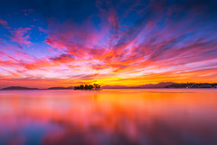 sunset 4453 (junjiaoyama) Tags: japan sunset sky light cloud weather landscape orange yellow pink red blue contrast color bright lake island water nature summer calm dusk serene reflection