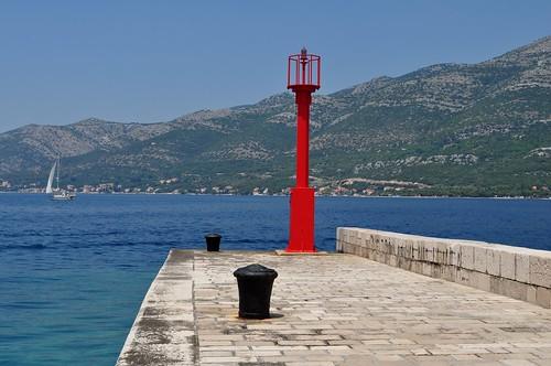 Jetée babord, port de Korčula, comitat de Dubrovnik-Neretva, Dalmatie, Croatie.
