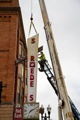 Old Sign Removal (Lester Public Library) Tags: tworiverswisconsin tworivers downtowntworivers schroeders schroedersdepartmentstore schroedersstore store departmentstore downtown wisconsin sign signage storesign signinstallation cranes lesterpubliclibrarytworiverswisconsin readdiscoverconnectenrich