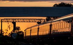 Golden hour at Kilby Bridge (Peter Leigh50) Tags: train hst high speed footbridge bridge signal gantry sunset golden hour railway railroad rural rail kilby junction