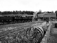 Rail yard at Beamish Museum (Hammerhead27) Tags: tourist old industrial wood steel iron time building olympus mono monochrome bw blackandwhite england vintage historic beamish museum mine colliery engine wheel track rail railway