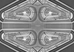 Treppenhaus Quadrofonie (petra.foto busy busy busy) Tags: fotopetra canon 5dmarkiii treppenhaus treppe stairs gespiegelt monocrom quadrofonie hamburg hotel steigenberger art germany architektur