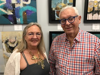 Suzanne Snider of Rojas Ford Fine Art with collector Dr. Jose Calleja during Coral Gables gallery night