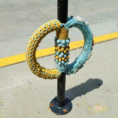 Cosy Bicycle Rack (Flight Map) Tags: bicycle stand rack lock knit knitting art fabric cosy madison wisconsin state street parking