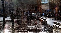 Still Raining (Fermat 48) Tags: albertsquare rain silhouettes manchester canon eos 7dmarkii sunshine street reflections wet