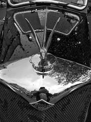 Vintage car (tubblesnap) Tags: grassington 1940s weekend reenactment wartime war ww2 nostalgia motorola motog3 snapseed soldier car vehicle classic bw black white mono monochrome hood bonnet ornament