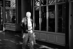 He Hates Shopping (WorcesterBarry) Tags: blackwhite bnw buildings street streetphotography streetphoto shadows adventure places people photographers paths candid city england worcester monochrome sunset homewardbound