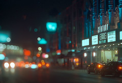 Landmark Century Theatres (Jovan Jimenez) Tags: landmark century centre cinema theatres bokeh theatre tilt shift tiltshift vintagelens night canon eos rebel t2 hasselblad planar 80mm f28 cinestill 800t kodak vision3 tungsten film analog analogue car streetphotography chicago city carl zeiss