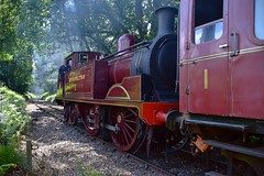 Visiting loco Metropolitan No.1, on the rear of the train, heading up the gradient through Epping Forest to North Weald. Epping Ongar Railway Steam Gala. 08 06 2018 (pnb511) Tags: eppingongarrailway trains heritage railway engine train loco locomotive smoke steam carriages tree trees track eppingforest l44 met1