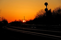 Almost Down (craigsanders429) Tags: sunsetphotography sunsets sunset sunsetcolors railroadtracks railroadsignals bereaohio