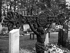 Iesus Nazarenus Rex Iudaeorum (stefanweise) Tags: blackandwhite cemetery jesus angel engel friedhof grab graveyard grave кладбище могила ангел