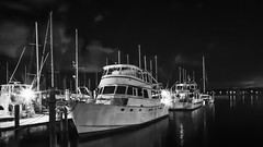 MARINA AT NIGHT IN BLACK & WHITE (photogtom43) Tags: nikoncoolpixp600 downtown marina panamacity florida boats sailboats yachts water night outdoor blackandwhite monochrome