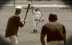 Vintage Baseball, Cantigny Park. 44 (EOS) (Mega-Magpie) Tags: canon eos 60d outdoors vintage baseball cantigny park people person players man dude fella game sepia wheaton il illinois dupage usa america