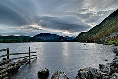 Ennerdale Water, Cumbria, England (vincocamm) Tags: water lake rocks clouds cloudy cumbria ennerdale ennerdalewater lakesdistrict fence grass hills mountains morning sunrise