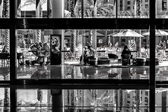 Vegas 2017-263 (Tasmanian58) Tags: life street vegas bw nb noirblanc blackwhite sony a7ii contax zeiss 50mm 1750mm light glass people water sun day planar