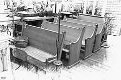 4 Little pews all in a row (creepingvinesimages) Tags: hbb bench benches churchpews antiques salvage auroramillsarchetecturalsalvage aurora oregon nikon d7000 sme pse14 topaz