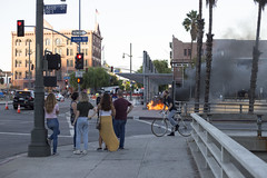 Ignited Tent in Los Angeles (getsomejelly) Tags: los angeles la candid street photography social documentary fire burning homeless property flames ignite