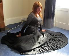 More Floor Poses (Amber :-)) Tags: long black sunray pleated skirt tgirl transvestite crossdressing