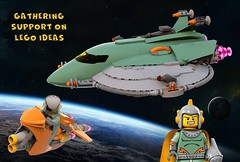 RETRO HERO'S SPACESHIP AND SPACEBIKE SUPPORT (Nuno_0937) Tags: lego ideas classic space spaceship ship moc retro hero minifigure