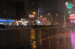 """""""sunday night rainstorm"""" (i) (hugo poon - one day in my life) Tags: xt20 23mmf2 hongkong wanchai hennessyroad citynight rainy colours lights sign reminiscing stormy emptystreet"""