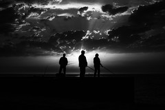 The Fishermen 361.365 (ewitsoe) Tags: 12f 50mm canoneos6dii europe street travel erikwitsoe porto portugal summer urban 365project mono monochrome blackandwhite bnw silhouette spot men standing ocea atlantic sunset clouds sun sunny warm storm