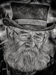 Bearded Man (Andy J Newman) Tags: 50thanniversary monochrome beard blackandwhite blandford d500 dorset gdsf hat man nikon old portrait silverefex steam steamfair straw john trug