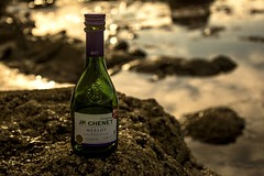 On the rocks...xx (shona.2) Tags: gullanebeach eastlothian beach litter scotland merlot redwine jpchenet bottle wine golden sunset rocks