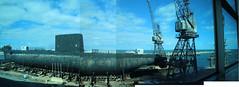 Wonky sub pano (Paul Threlfall) Tags: hmasovens wa westernaustralia perth fremantle submarine wamaritimemuseum cranes throughawindow panorama