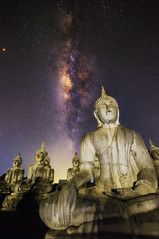 Buddha and Milky Way (tanongsak.s) Tags: peace traditional face religious way milky statue thailand buddha night background art sky travel architecture tourism asian asia religion landmark temple sculpture god zen thai buddhism worship sacred buddhist color old light gold culture ancient scene star evening festival monument spiritual district cement