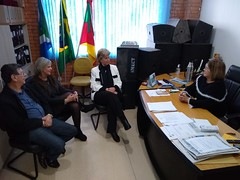13/09/18 - Visita a Prefeitura e ao Parque Eólico de Chuí. Com o deputado Adilson Troca, a vereadora Patrícia Vasquez, sendo recepcionada pela vice-prefeita, Valda Ferreira.