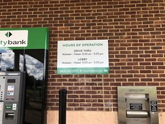 County Bank Outdoor Sign (pipandersonsc1) Tags: signs signage vinyl window graphic pip anderson upstate local frostedglass outdoor bank office hours logo printing