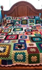 Mixed Squares Afghan (debscrochet) Tags: granny squares afghan crocheted debbiecrochets