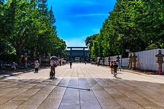 Yasukuni Shrine : 靖国神社 (Dakiny) Tags: 2018 summer august japan tokyo chiyoda chiyodaward kudan kudanshita shrine yasukuni yasukunishrine city street park outdoor landscape architecture torii building gate people sky blue nikon d750 tamron 35mm f18 tamronsp35mmf18divcusdf012n sp35mmf18divcusdf012n f012