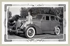 "1937 Chevrolet (Vintage Cars & People) Tags: vintage us usa america vintageusa classic black white ""blackwhite"" sw photo foto photography automobile car cars motor vehicle antique auto lady woman girl blinde fashion skirt pantsuit trousers pants chevrolet chevy 1937 chevroletsedan 1930s thirties whitewalltyres sidewalltires whitewalls"