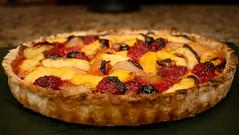 mixed fruit tart (wmpe2000) Tags: 2017 inthekitchen dessert fruittart nectarines blueberries raspberries peaches pears vegancrust img7434a