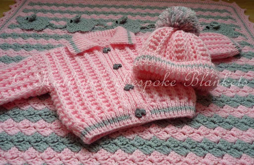 1f2a71581a5 Elephant themed blanket and Frankie cardigan set (Kathryn s Bespoke  Blankets) Tags  elephant pink