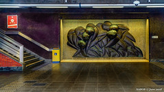 "Brussels, Belgium: Osseghem metro station (Lines 2 & 6); Artist Reinhoud D'haese's ""Stop the Run"" is bronze sculpture depicting passengers in a rush (nabobswims) Tags: be belgium brussels bruxelles el elevated hdr highdynamicrange hochbahn ilce6000 lightroom metro mirrorless nabob nabobswims ossegem osseghem photomatix rapidtransit sel18105g sculpture sonya6000 station subway ubahn"