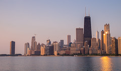 Chicago at Sunrise (romanboed) Tags: leica m 240 summilux 50 usa illinois summer chicago city downtown morning sunrise skyscrapers lake michigan john hancock building reflection