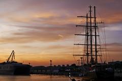 Port Varna (yuliyadraganova) Tags: sea varna bilgaria ships tall harbour sunset europe travel reflexions high contrast