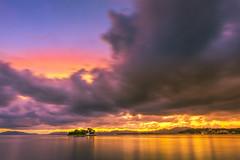 sunset 4976 (junjiaoyama) Tags: japan sunset sky light cloud weather landscape yellow orange contrast color bright lake island water nature autumn fall calm dusk serene reflection